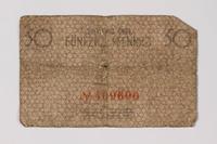 1987.90.56 back Łódź (Litzmannstadt) ghetto scrip, 50 pfennig note  Click to enlarge