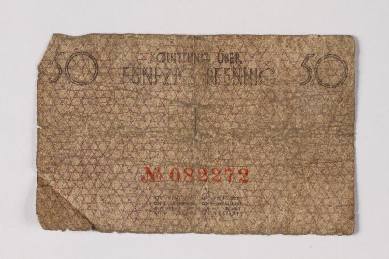 1987.90.57 back Łódź (Litzmannstadt) ghetto scrip, 50 pfennig note