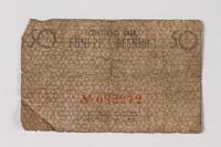 1987.90.57 back Łódź (Litzmannstadt) ghetto scrip, 50 pfennig note  Click to enlarge