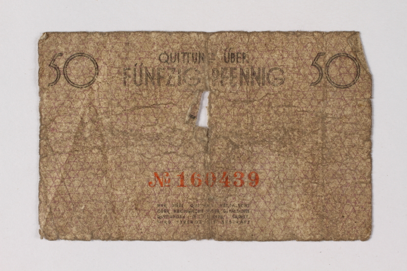 1987.90.58 back Łódź (Litzmannstadt) ghetto scrip, 50 pfennig note
