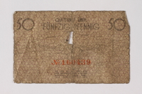 1987.90.58 back Łódź (Litzmannstadt) ghetto scrip, 50 pfennig note  Click to enlarge