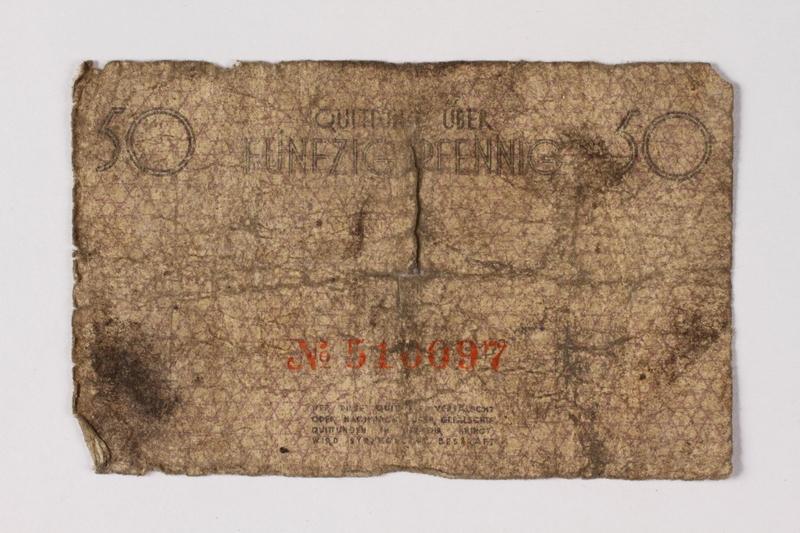 1987.90.59 back Łódź (Litzmannstadt) ghetto scrip, 50 pfennig note