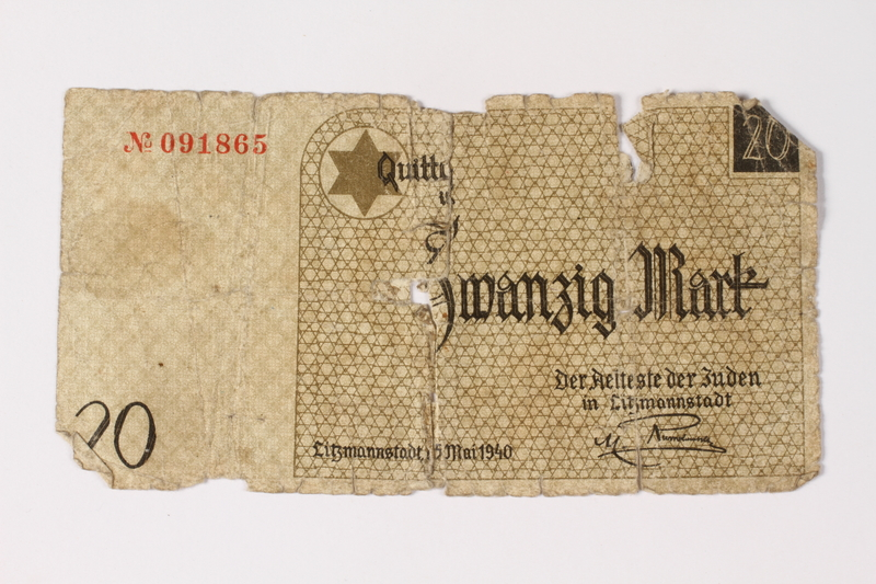1987.90.6 front Łódź (Litzmannstadt) ghetto scrip, 20 mark note