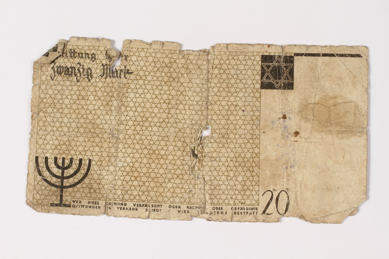1987.90.6 back Łódź (Litzmannstadt) ghetto scrip, 20 mark note