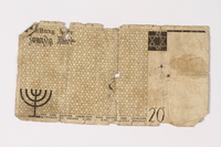 1987.90.6 back Łódź (Litzmannstadt) ghetto scrip, 20 mark note  Click to enlarge