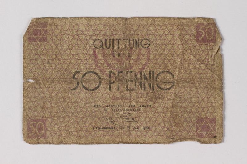 1987.90.60 front Łódź (Litzmannstadt) ghetto scrip, 50 pfennig note