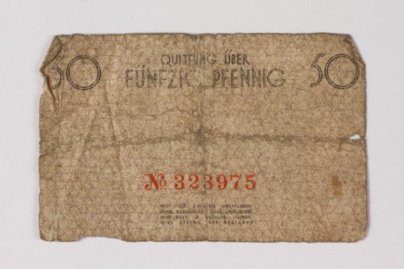 1987.90.60 back Łódź (Litzmannstadt) ghetto scrip, 50 pfennig note