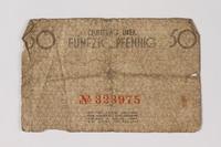 1987.90.60 back Łódź (Litzmannstadt) ghetto scrip, 50 pfennig note  Click to enlarge