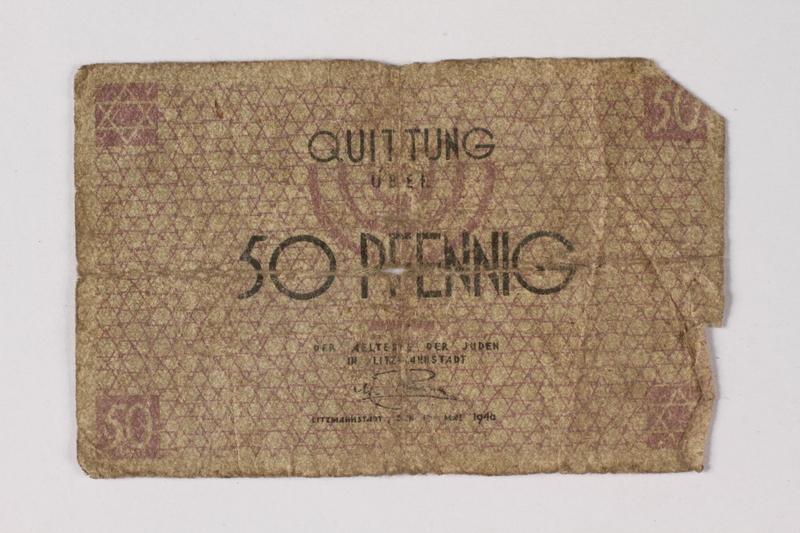 1987.90.61 front Łódź (Litzmannstadt) ghetto scrip, 50 pfennig note