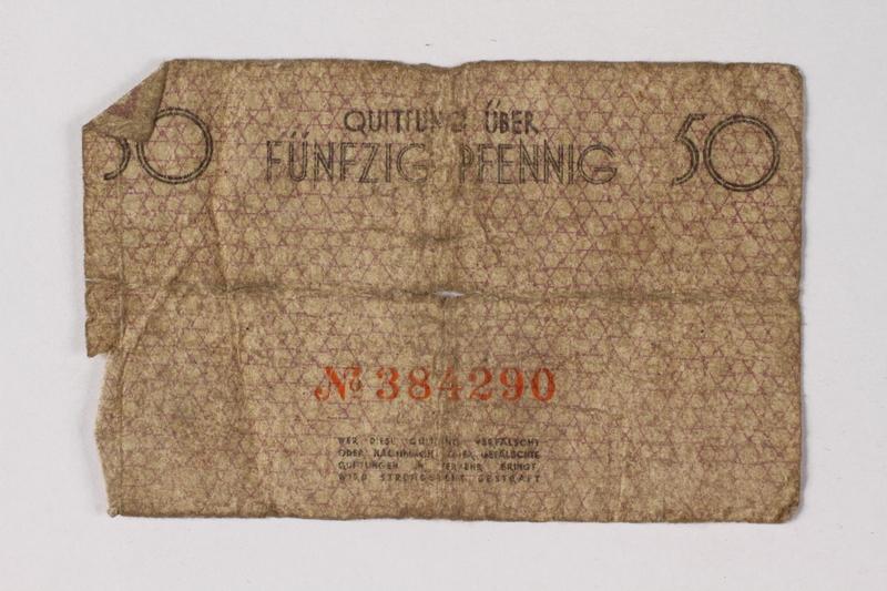 1987.90.61 back Łódź (Litzmannstadt) ghetto scrip, 50 pfennig note