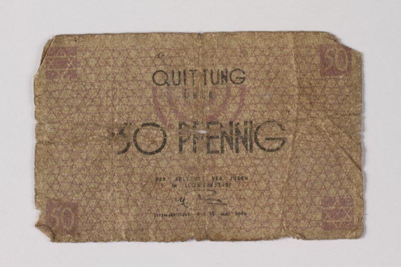 1987.90.62 front Łódź (Litzmannstadt) ghetto scrip, 50 pfennig note