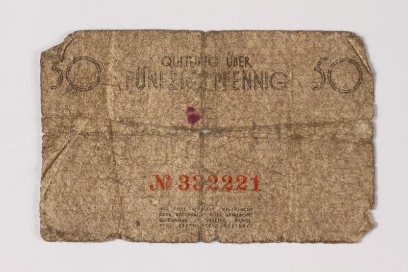 1987.90.62 back Łódź (Litzmannstadt) ghetto scrip, 50 pfennig note