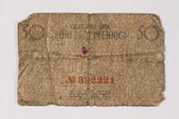 1987.90.62 back Łódź (Litzmannstadt) ghetto scrip, 50 pfennig note  Click to enlarge