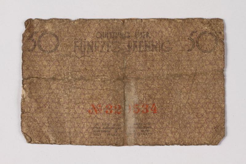 1987.90.63 back Łódź (Litzmannstadt) ghetto scrip, 50 pfennig note