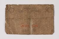 1987.90.63 back Łódź (Litzmannstadt) ghetto scrip, 50 pfennig note  Click to enlarge