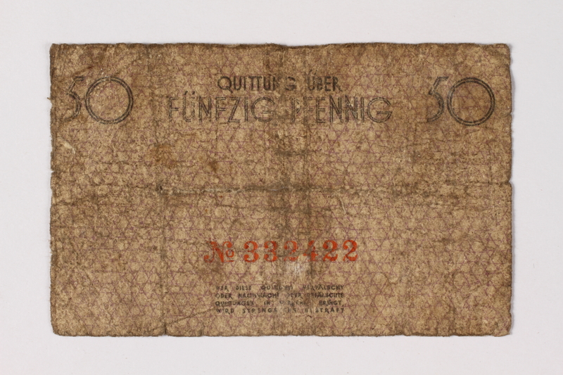 1987.90.64 back Łódź (Litzmannstadt) ghetto scrip, 50 pfennig note
