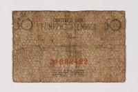 1987.90.64 back Łódź (Litzmannstadt) ghetto scrip, 50 pfennig note  Click to enlarge