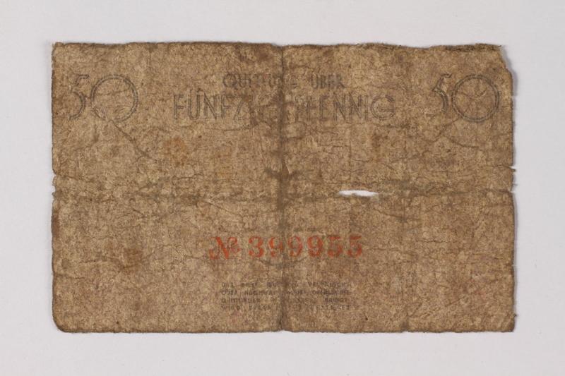 1987.90.65 back Łódź (Litzmannstadt) ghetto scrip, 50 pfennig note