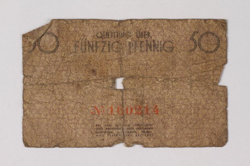 1987.90.66 back Łódź (Litzmannstadt) ghetto scrip, 50 pfennig note