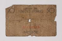 1987.90.66 back Łódź (Litzmannstadt) ghetto scrip, 50 pfennig note  Click to enlarge