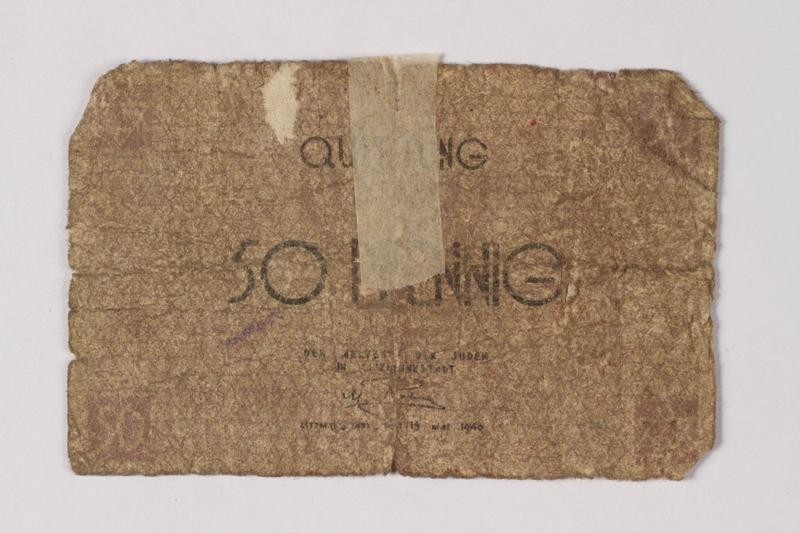 1987.90.67 front Łódź (Litzmannstadt) ghetto scrip, 50 pfennig note