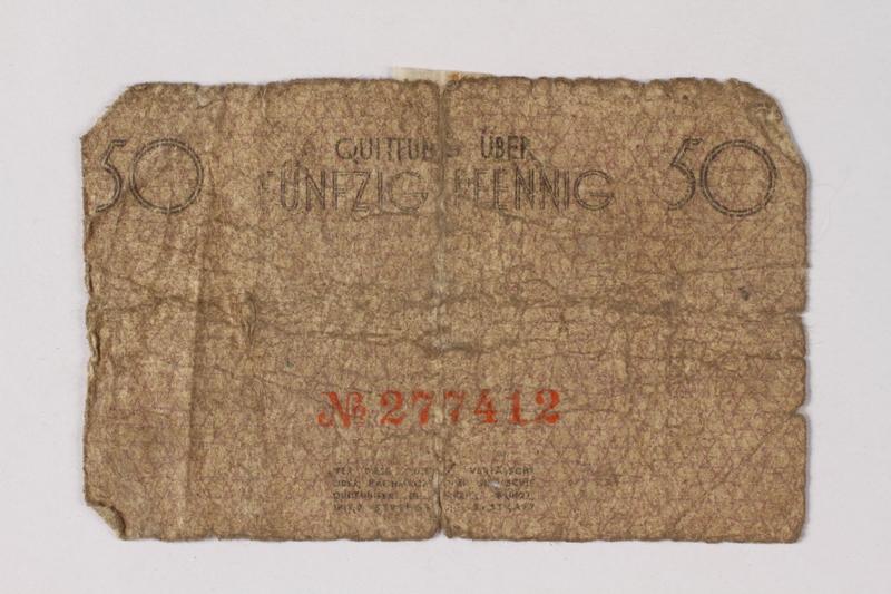 1987.90.67 back Łódź (Litzmannstadt) ghetto scrip, 50 pfennig note