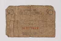 1987.90.67 back Łódź (Litzmannstadt) ghetto scrip, 50 pfennig note  Click to enlarge