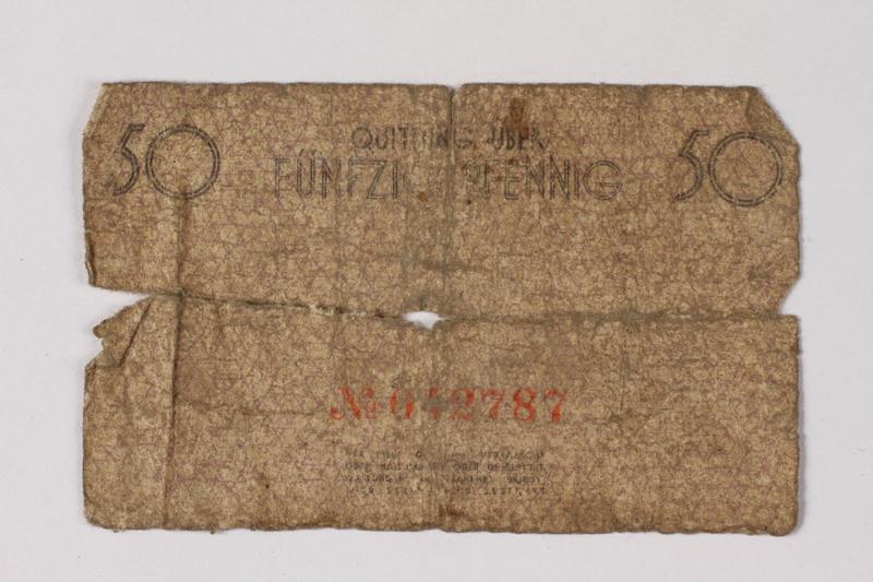 1987.90.68 back Łódź (Litzmannstadt) ghetto scrip, 50 pfennig note