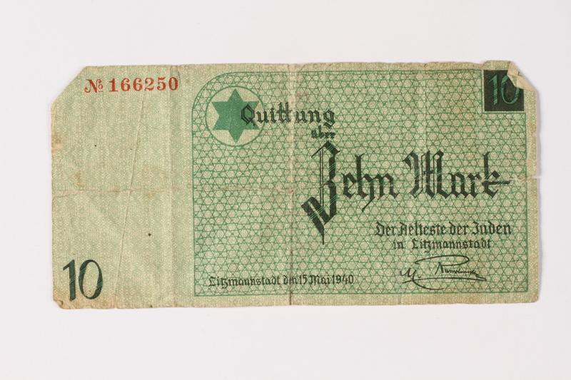 1987.90.7 front Łódź (Litzmannstadt) ghetto scrip, 10 mark note