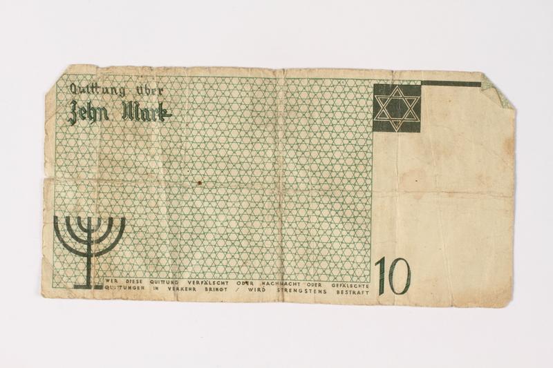 1987.90.7 back Łódź (Litzmannstadt) ghetto scrip, 10 mark note