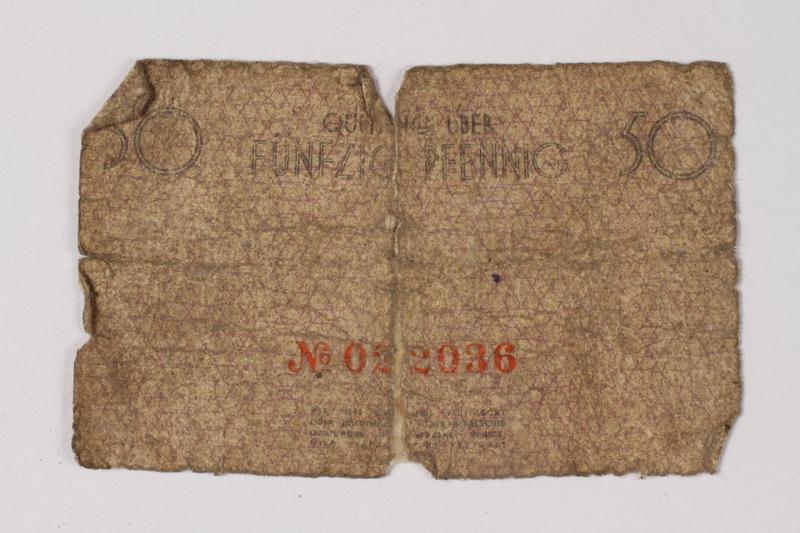 1987.90.70 back Łódź (Litzmannstadt) ghetto scrip, 50 pfennig note