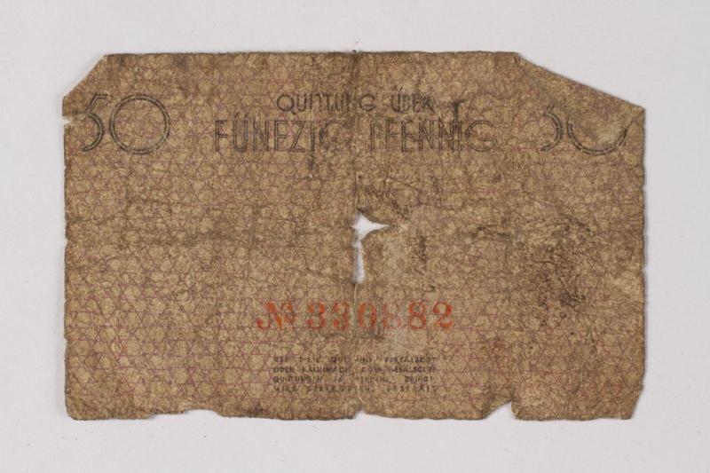 1987.90.72 back Łódź (Litzmannstadt) ghetto scrip, 50 pfennig note