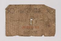 1987.90.72 back Łódź (Litzmannstadt) ghetto scrip, 50 pfennig note  Click to enlarge