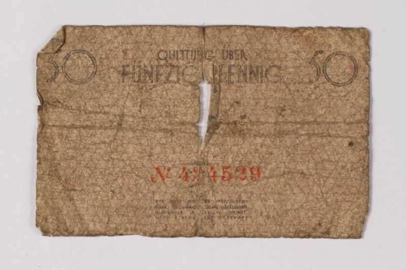 1987.90.73 back Łódź (Litzmannstadt) ghetto scrip, 50 pfennig note