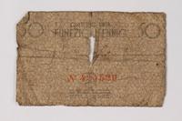 1987.90.73 back Łódź (Litzmannstadt) ghetto scrip, 50 pfennig note  Click to enlarge