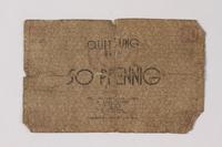 1987.90.74 front Łódź (Litzmannstadt) ghetto scrip, 50 pfennig note  Click to enlarge