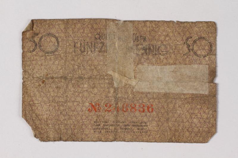 1987.90.74 back Łódź (Litzmannstadt) ghetto scrip, 50 pfennig note