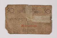 1987.90.74 back Łódź (Litzmannstadt) ghetto scrip, 50 pfennig note  Click to enlarge