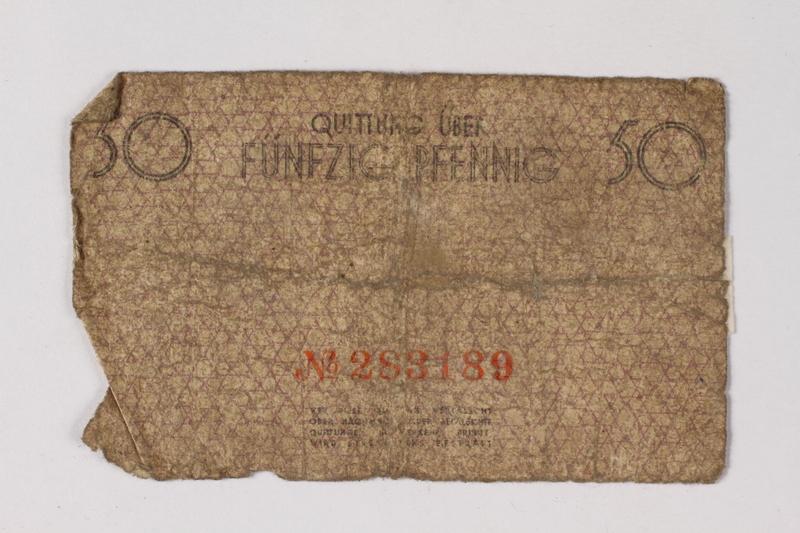 1987.90.75 back Łódź (Litzmannstadt) ghetto scrip, 50 pfennig note
