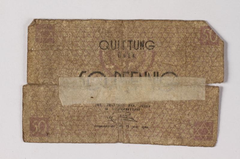 1987.90.76 front Łódź (Litzmannstadt) ghetto scrip, 50 pfennig note