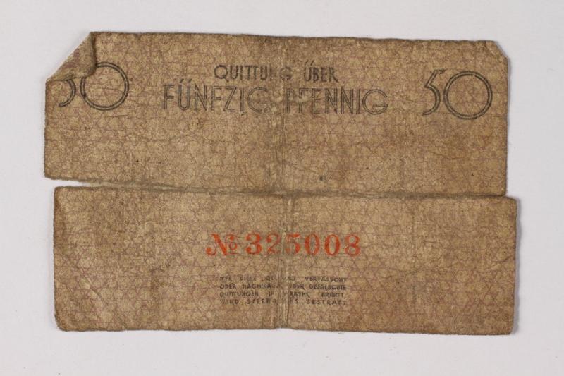 1987.90.76 back Łódź (Litzmannstadt) ghetto scrip, 50 pfennig note