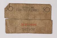 1987.90.76 back Łódź (Litzmannstadt) ghetto scrip, 50 pfennig note  Click to enlarge