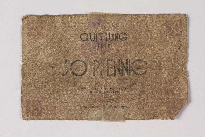 1987.90.77 front Łódź (Litzmannstadt) ghetto scrip, 50 pfennig note