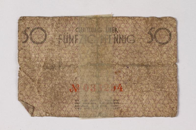1987.90.77 back Łódź (Litzmannstadt) ghetto scrip, 50 pfennig note