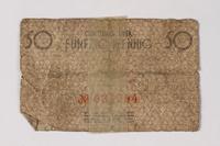 1987.90.77 back Łódź (Litzmannstadt) ghetto scrip, 50 pfennig note  Click to enlarge
