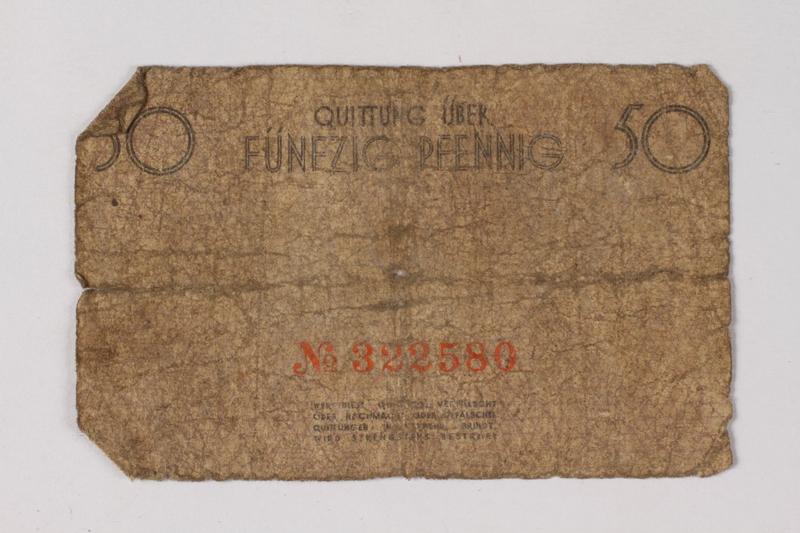 1987.90.78 back Łódź (Litzmannstadt) ghetto scrip, 50 pfennig note