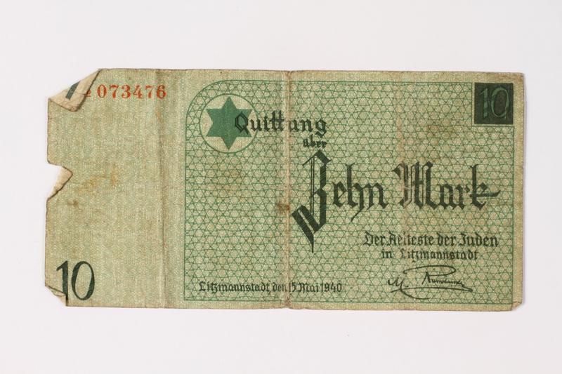 1987.90.8 front Łódź (Litzmannstadt) ghetto scrip, 10 mark note