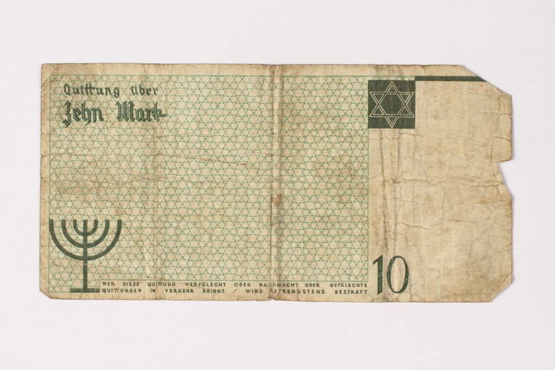 1987.90.8 back Łódź (Litzmannstadt) ghetto scrip, 10 mark note