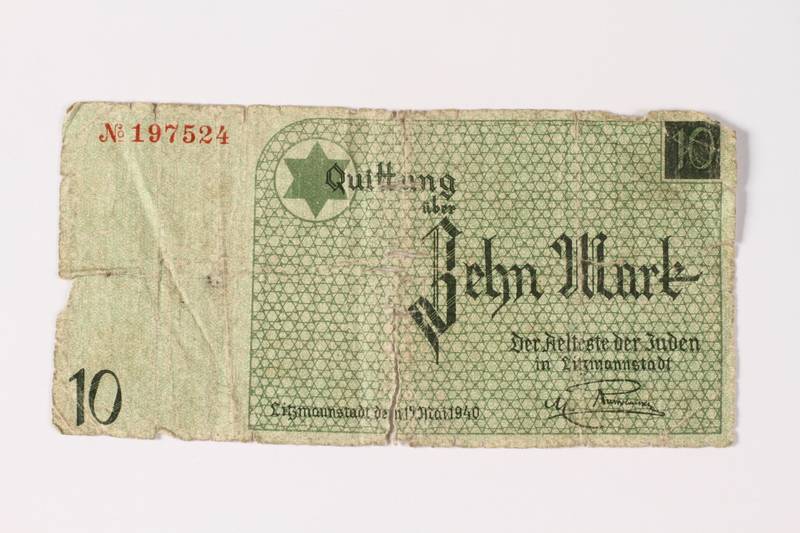1987.90.9 front Łódź (Litzmannstadt) ghetto scrip, 10 mark note
