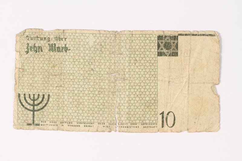 1987.90.9 back Łódź (Litzmannstadt) ghetto scrip, 10 mark note